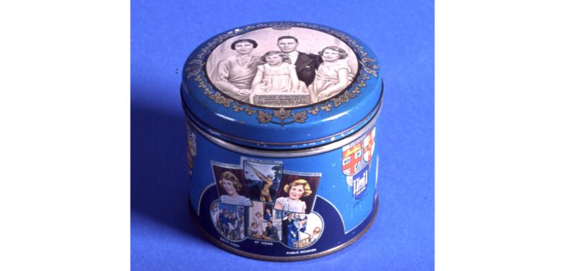 Huntley and Palmers Souvenir tin with Marcus Adams photo