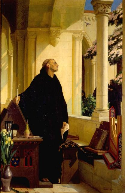 Painting of a monk at Reading Abbey.
