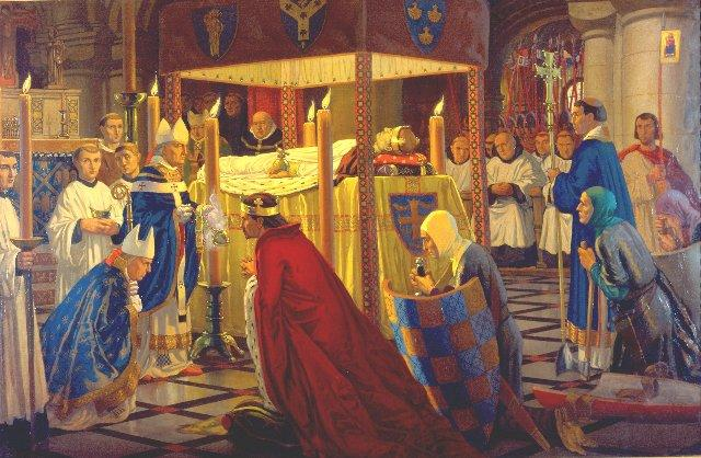 This painting shows Henry I's burial in Reading Abbey.