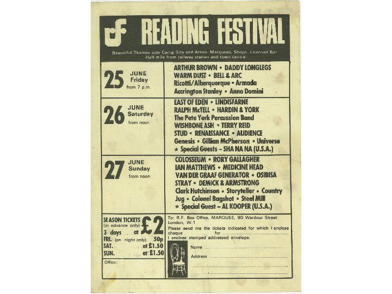 An image of an advertising flyer and ticket booking form for the first Reading Festival staged beside the River Thames at Richfield Avenue between Friday 25 June - Sunday 27 June 1971.