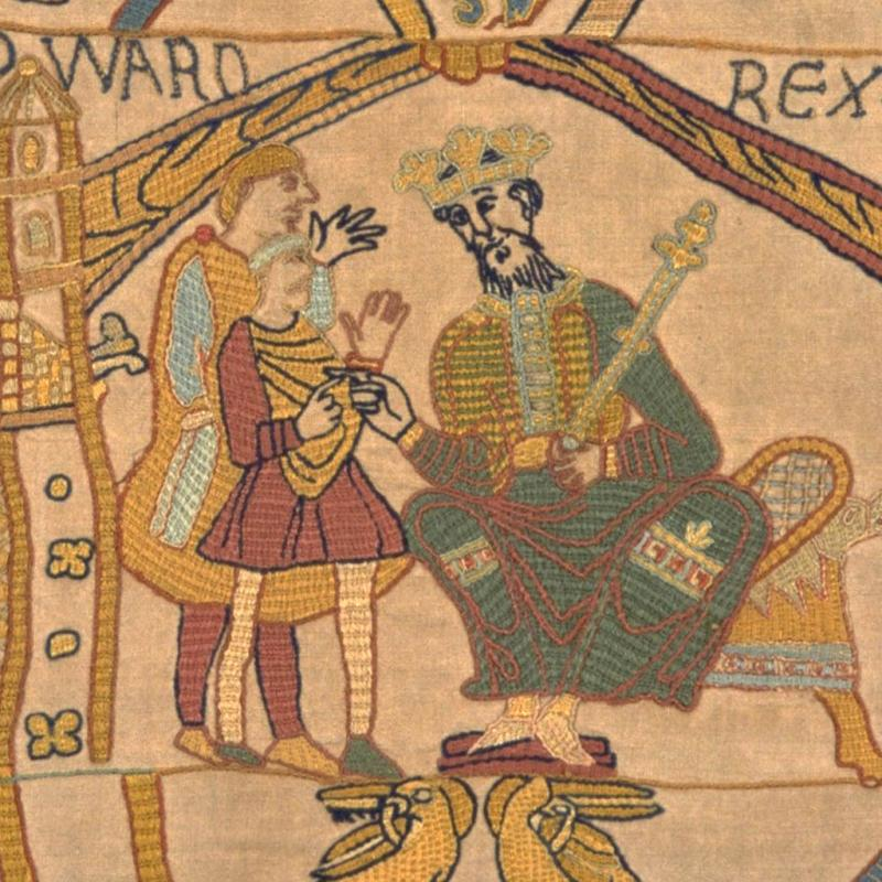 The beginning of the Bayeux Tapestry.