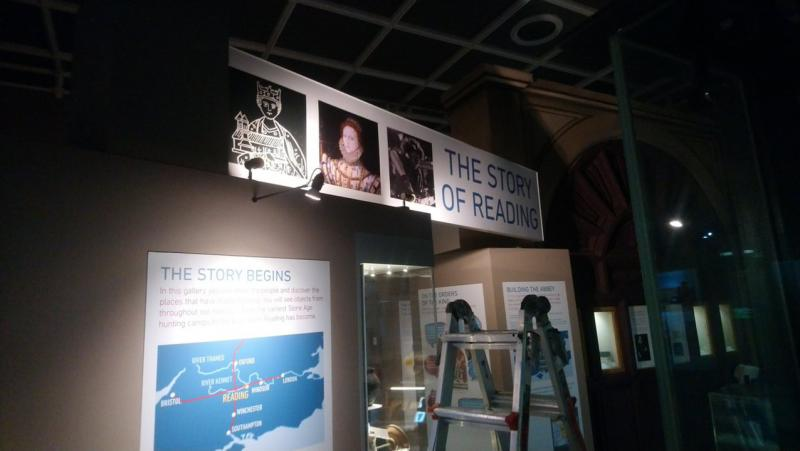 Making finishing touches to the Story of Reading Gallery