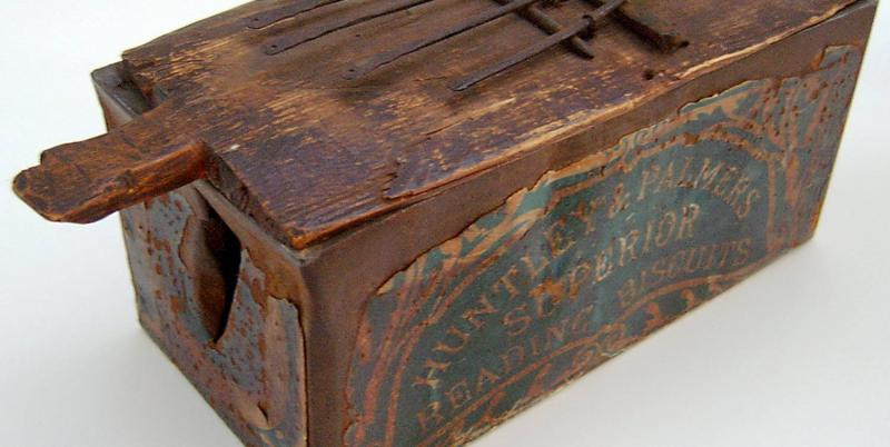 Huntley and Palmers biscuit tin re-used as a thumb piano