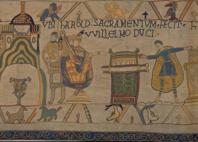 William and Harold at the town of Bayeux. Harold swears a solemn oath on holy relics.