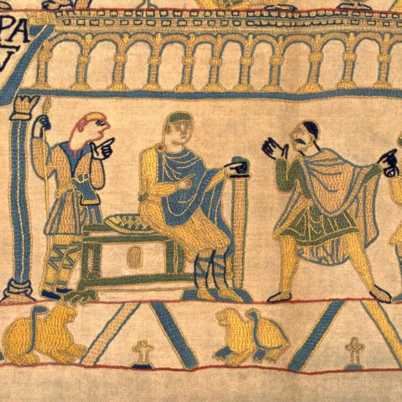 William and Harold in our replica Bayeux Tapestry.