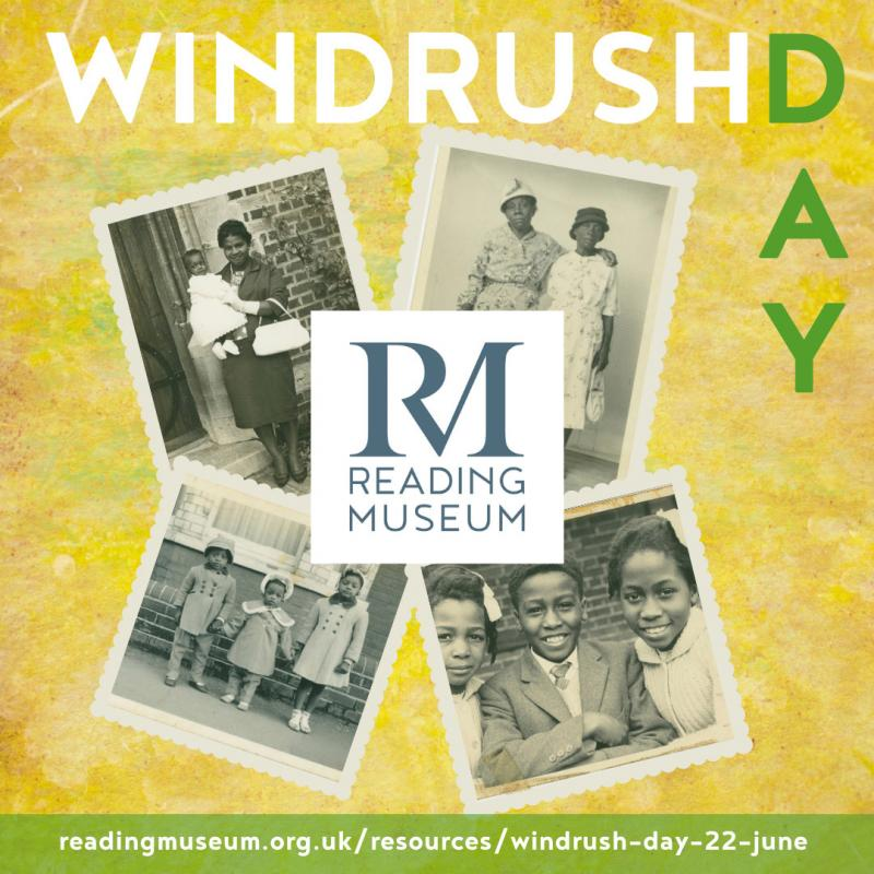 A graphic for Reading Museum's Windrush Day 2020 programme.