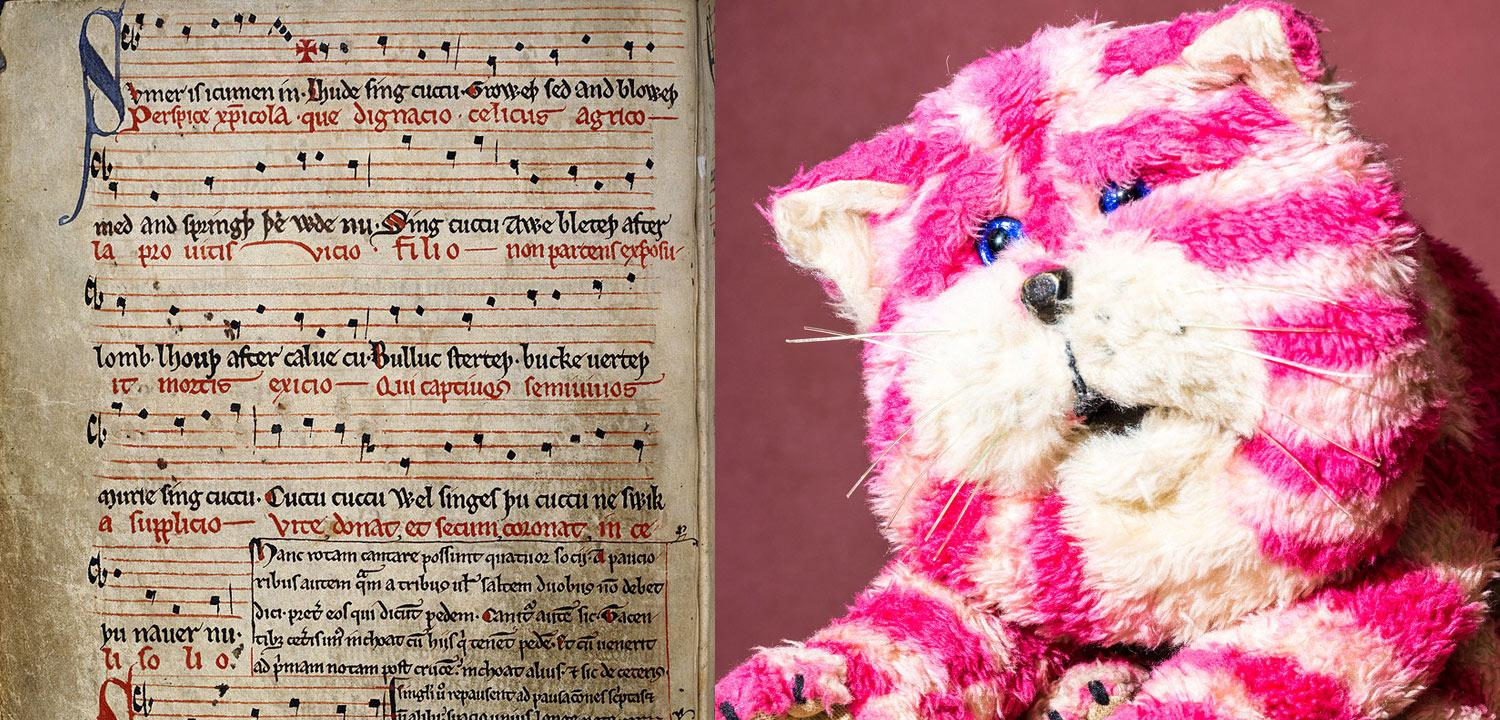 Image of the medieval manuscript of Summer is Icumen in next to an image of the TV cat Bagpuss