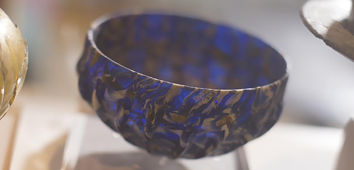 Silchester blue glass bowl