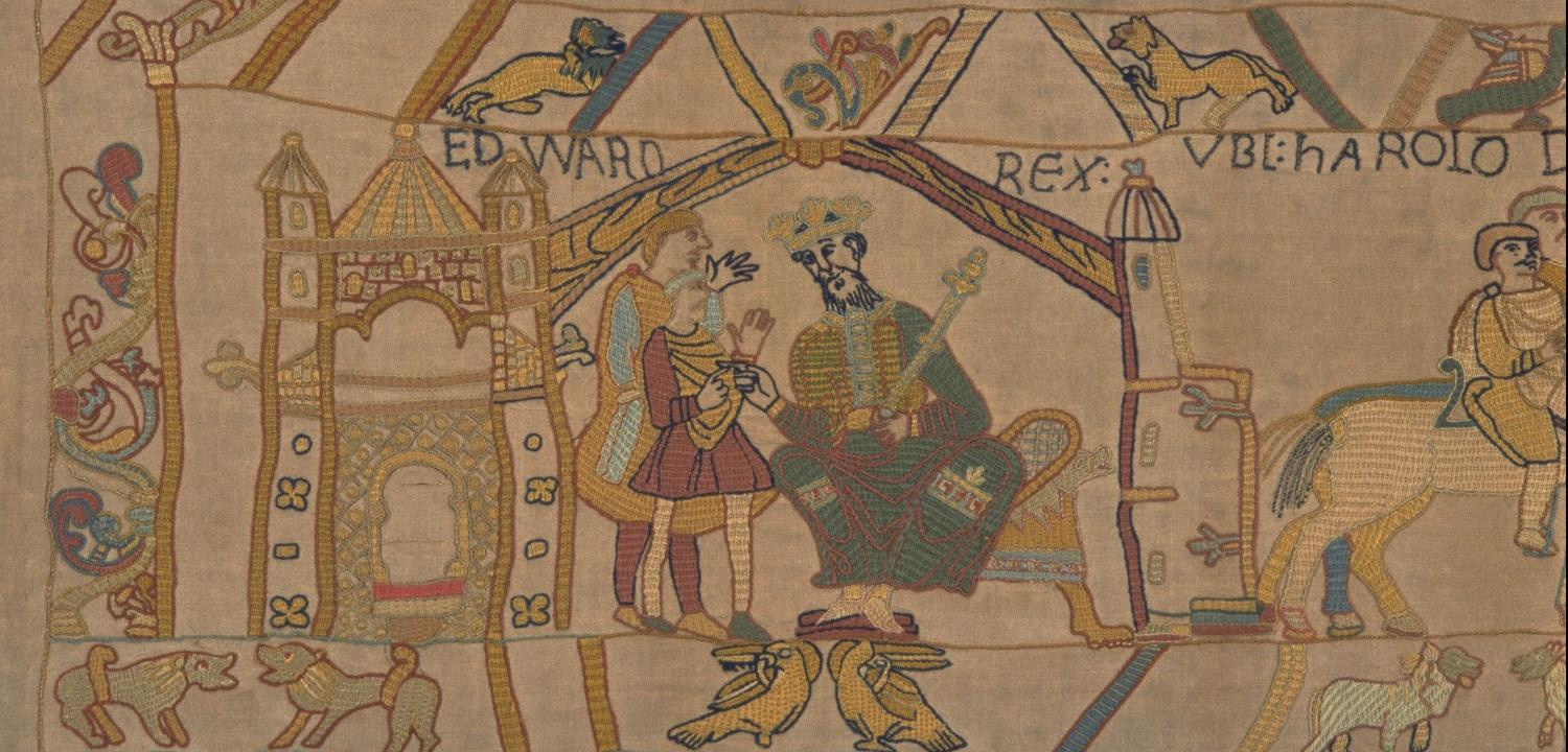 Edward the Confessor, King of England  talks to his brother-in-law Harold, Earl of Wessex