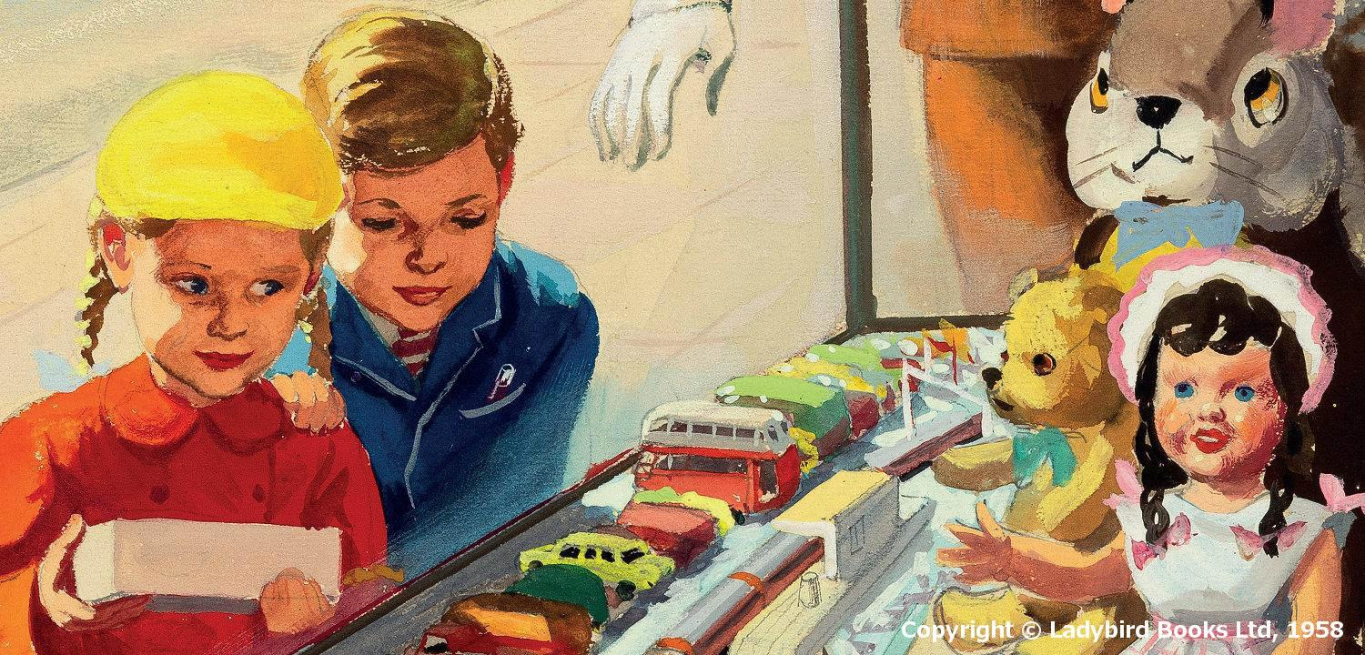 A cropped section from Ladybird Books Shopping With Mother, showing a girl and a boy looking through a shop window at toys. Copyright © Ladybird Books Ltd, 1958
