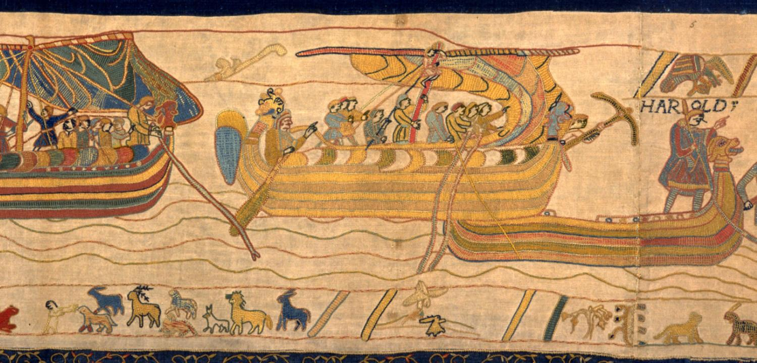 An image of soldiers sailing in the Bayeux Tapestry.