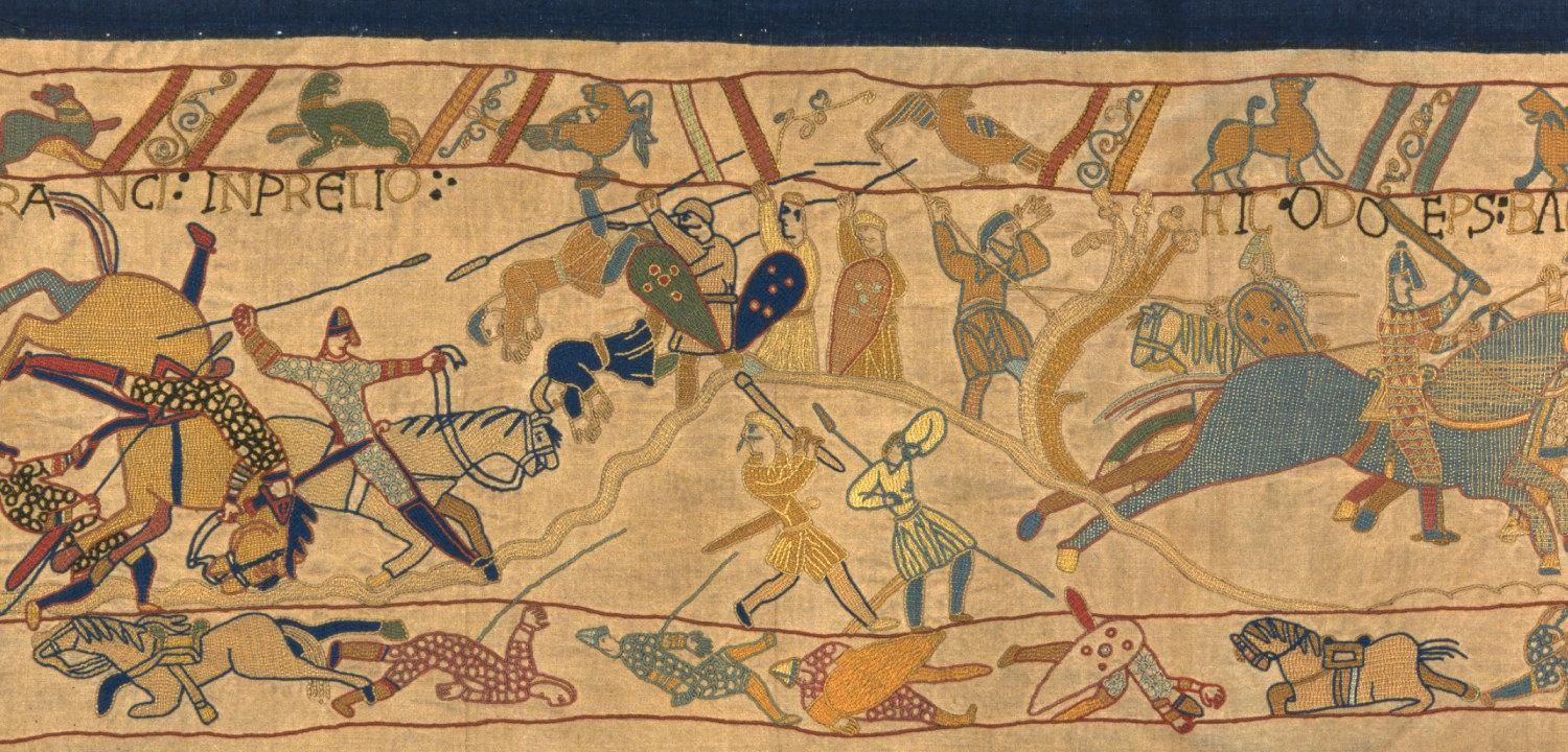 An image from our replica Bayeux Tapestry showing the Battle of Hastings.