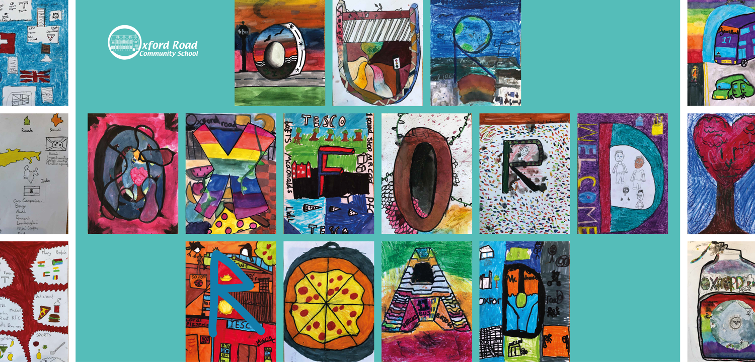 A banner of images made by students from the Oxford Road Community Primary School.