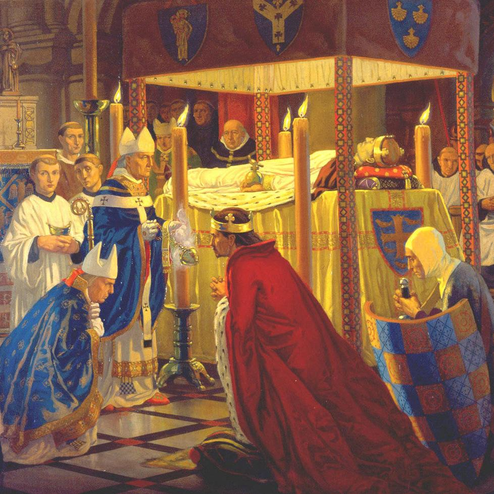 Burial of Henry I, 1136 by Harry Morley, painted 1916