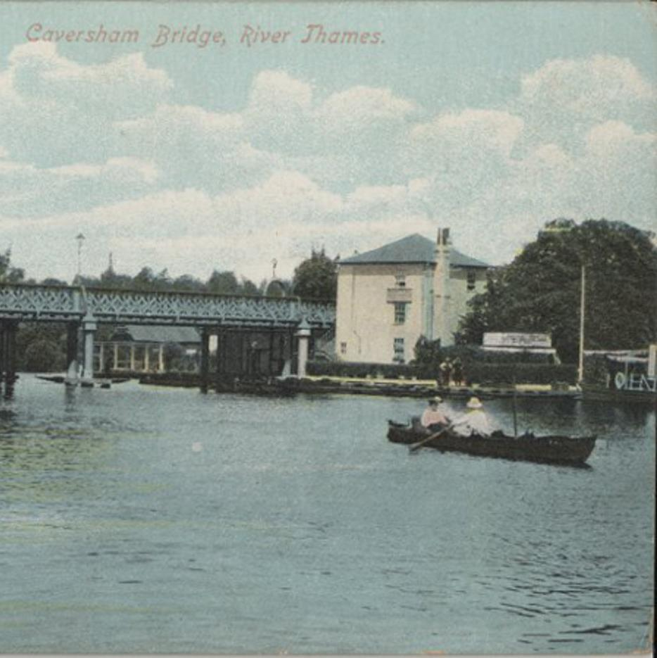 Postcard showing Caversham Bridge with two Edwardian people rowing down the River Thames.