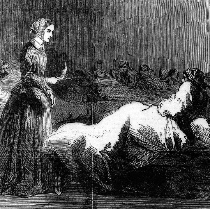 Crimean War: Florence Nightingale going around the wards at Scutari Hospita. Credit Wellcome Images, a website operated by Wellcome Trust, a global charitable foundation based in the United Kingdom.