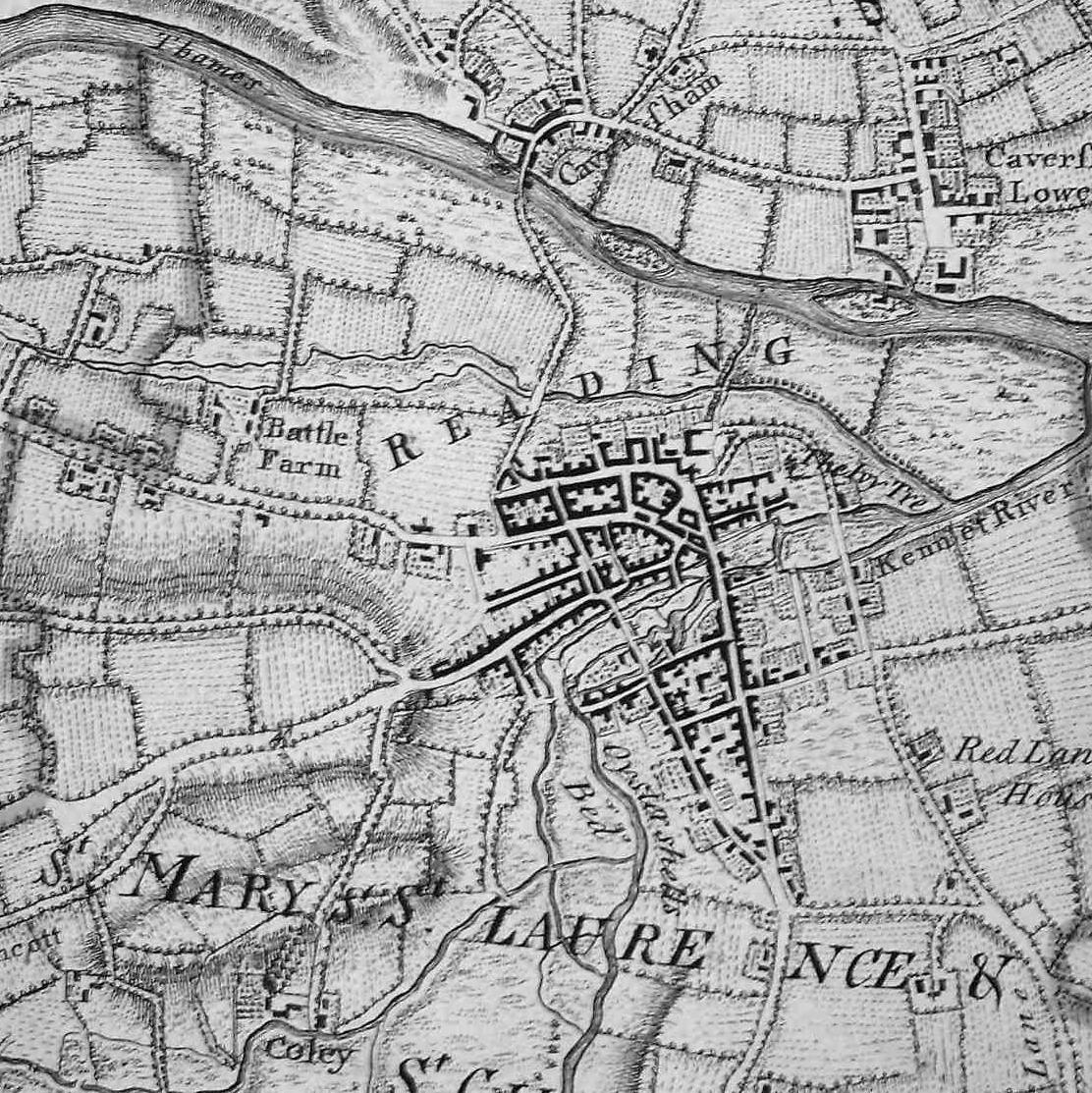 Reading and Caversham from John Rocques Map of Berkshire 1761 (TNA, MR1/677)