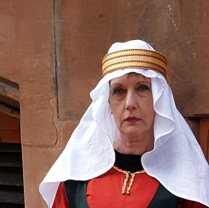 A Costumed Interpreter dressed as Empress Matilda