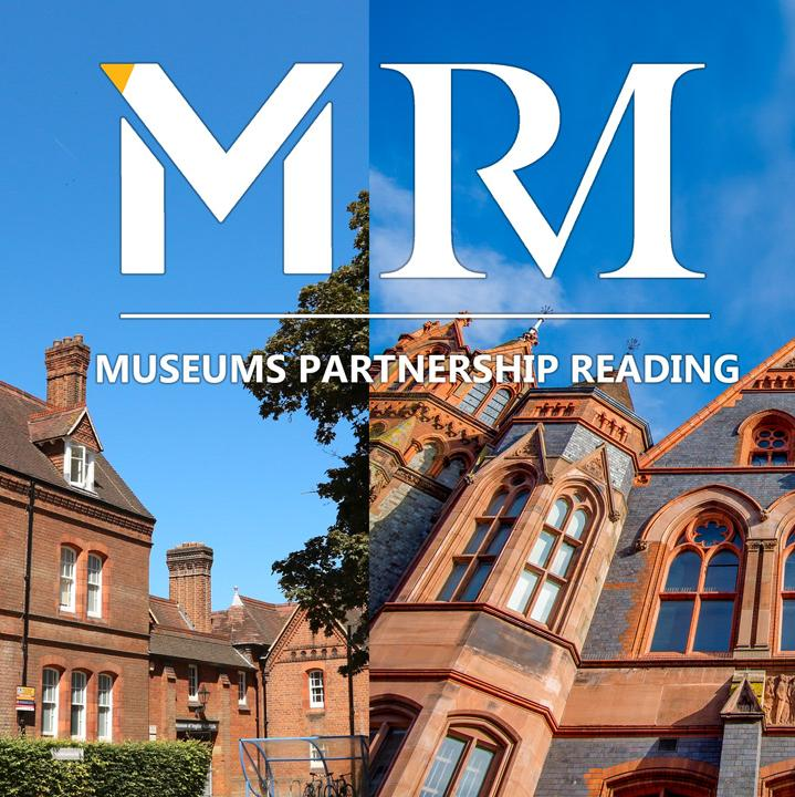 An image of the front of the Museum of English Rural Life against a blue sky takes up half the image, and a photo of the front of Reading Museum against a blue sky takes up the other.