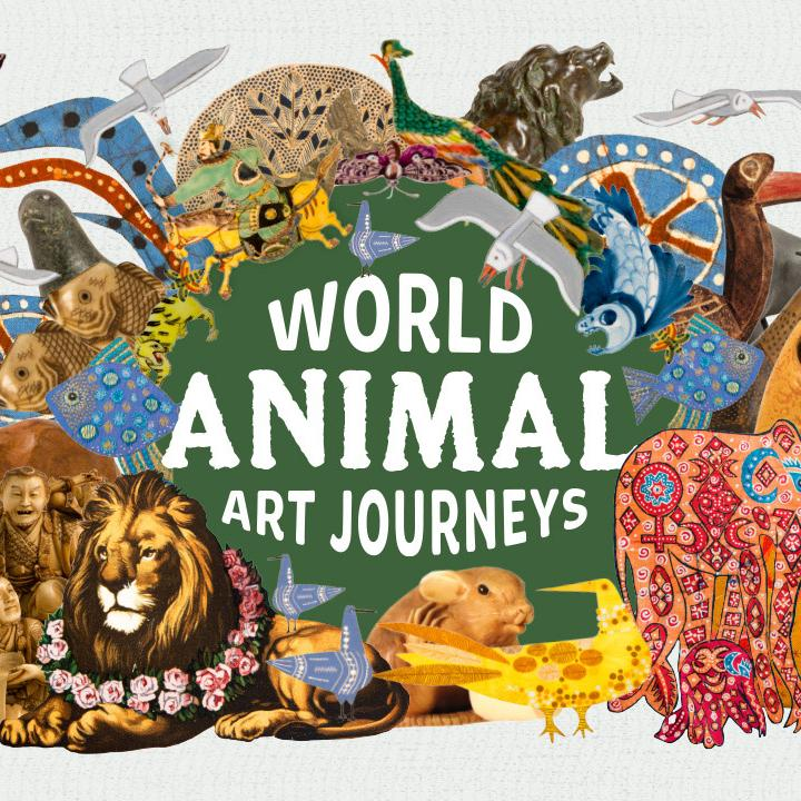 A collage of animal artefacts from Reading Museum's brand new 'ANIMAL: World Art Journeys' exhibition.