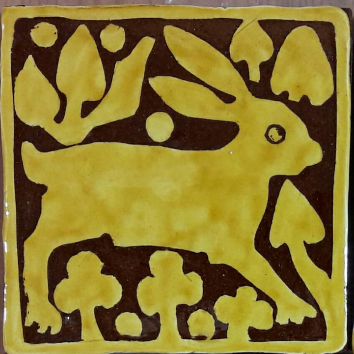 Reading Abbey floor tile with a hare pattern