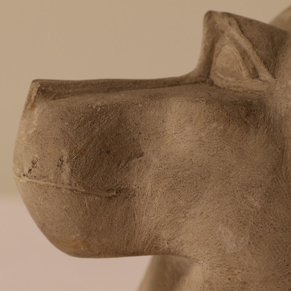 limestone baboon headed canopic jar lid