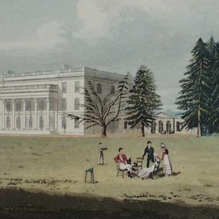 Engraving of Caversham Park entitled 'Col Marsack's House' published in 1823