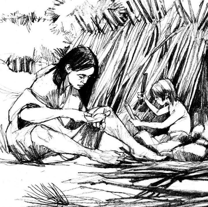 Reconstruction drawing of a prehistoric family