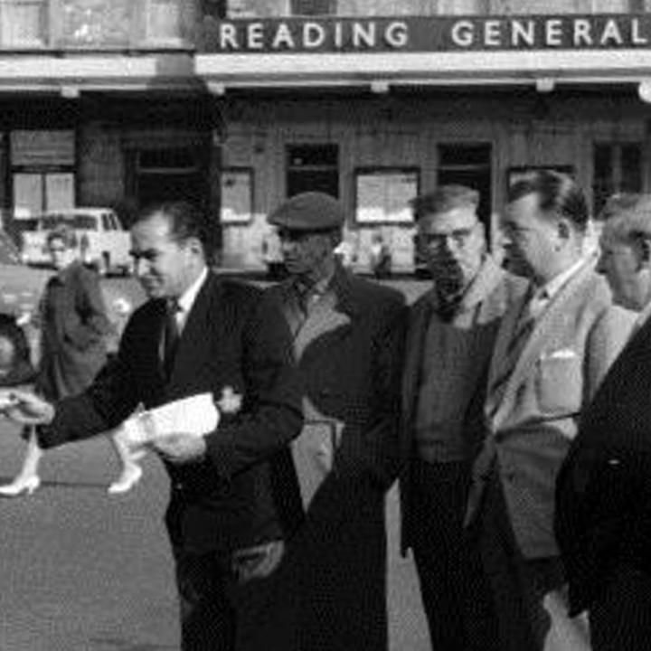 Rail workers picket at Reading Station, 1962