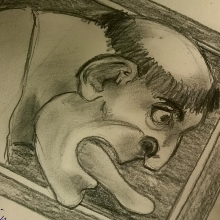 A drawing of a gargoyle