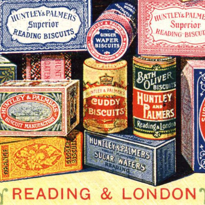 Huntley and Palmers tin advertisment, 1900