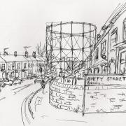 Sketch of Gasholder No.4 from Amity Road by Kate Lockhart, 2013