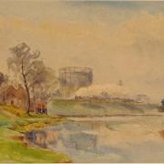 Steam and Stream, gasholder and River Thames at Reading, A Rawling, 1927
