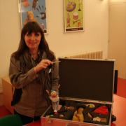 Evelyn with one of Reading Museum's loan boxes