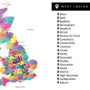 West Indian settlement in the UK map - Courtesy Dr. Henderson Carter