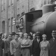 factory visitors with locomotive