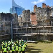 Reading Abbey under scaffolding during the 2017 conservation.